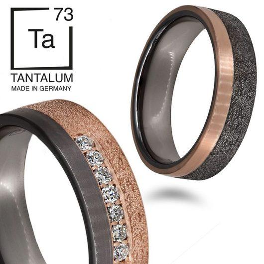 Tantalum Trauringe mit 999Tantal und Roségold und Brillanten